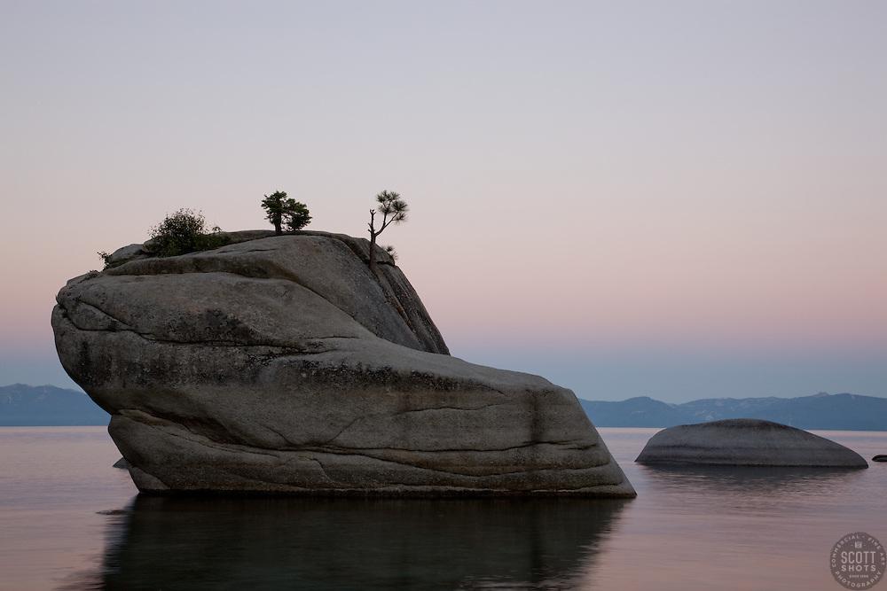 """Bonsai Rock, Lake Tahoe""- Bonsai Rock, near Sand Harbor, was photographed at sunrise."