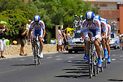 France, Grabels, 7 July 2009: Skil-Shimano drive up the hill from Grabels during Stage 4 of the 2009 Tour de France cycle race. This stage was the Team Time Trial and started and ended in Montpellier and was 39km long. Photo by Peter Horrell / http://peterhorrell.com .