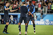 Paul Pogba, Benjamin Pavard, Presnel Kimpembe of France celebrate after winning the 2018 FIFA World Cup Russia, Semi Final football match between France and Belgium on July 10, 2018 at Saint Petersburg Stadium in Saint Petersburg, Russia - Photo Thiago Bernardes / FramePhoto / ProSportsImages / DPPI