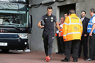 Cesar Azpilicueta  of Chelsea is all smiles as he arrives off the team bus ahead of the game. Premier league match, Swansea city v Chelsea at the Liberty Stadium in Swansea, South Wales on Sunday 11th Sept 2016.<br /> pic by  Andrew Orchard, Andrew Orchard sports photography.