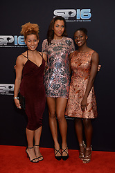 (L-R) Jazmin Sawyers, Morgan Lake and Dina Asher-Smith during the red carpet arrivals for BBC Sports Personality of the Year 2016 at The Vox at Resorts World Birmingham. Photo credit should read: Doug Peters/EMPICS Entertainment