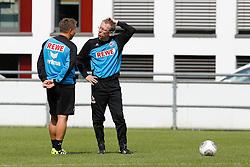 23.04.2014, Geissbockheim, Koeln, GER, 2. FBL, 1. FC Koeln, Training, im Bild Trainer Peter Stoeger (1. FC Koeln) im Gespraech mit Co-Trainer Manfred Schmid (1. FC Koeln) // during a practice session of 2nd German Bundesliga club 1. FC Cologne at the Geissbockheim in Koeln, Germany on 2014/04/23. EXPA Pictures © 2014, PhotoCredit: EXPA/ Eibner-Pressefoto/ Schueler<br /> <br /> *****ATTENTION - OUT of GER*****
