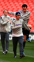 Photo: Alan Crowhurst.<br />England training session at Wembley Stadium. 21/03/2007. Wayne Rooney and John Terry warm up.