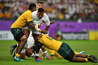 Rugby Union - 2019 Rugby World Cup - Quarter-Final: England vs. Australia<br /> <br /> England's Manu Tuilagi is tackled by Australia's Isi Naisarani and Samu Kerevi, at Oita Stadium, Oita Prefecture.<br /> <br /> COLORSPORT/ASHLEY WESTERN