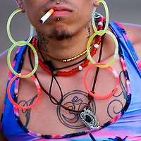 Irving Santos Julius smokes a cigarette on the fourth and final day of the Firefly Music Festival in Dover, Delaware U.S., June 17, 2018.  REUTERS/Mark Makela