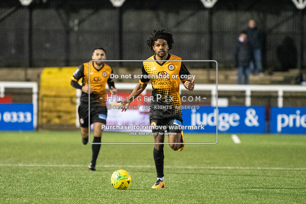 BROMLEY, UK - NOVEMBER 02: Bradley Pritchard, of Cray Wanderers FC, looks for an opening during the BetVictor Isthmian Premier League match between Cray Wanderers and Worthing at Hayes Lane on November 2, 2019 in Bromley, UK. <br /> (Photo: Jon Hilliger)