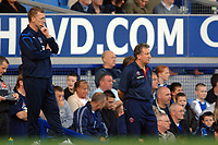 Photo: Paul Greenwood.<br />Everton v Sheffield United. The Barclays Premiership. 21/10/2006. David Moyes and Neil Warnock, right, shouts encouragement from the bench