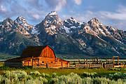 Moulton Barn on Mormon Row and Tetons, Grand Teton National Park, Wyoming