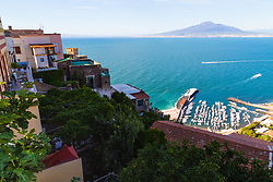Sorrento, Italy, September 17 2017. Traditional Italian villas and apartments overlook Marina di Equa in the village of Seano, in the Bay of Naples, with Mt Vesuvius in the distance, in southern Italy. © Paul Davey