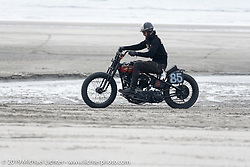 Brian Charles with his 1941 Harley-Davidson Knucklehead racer (in a 1936 VL frame) at TROG (The Race Of Gentlemen). Wildwood, NJ. USA. Saturday June 9, 2018. Photography ©2018 Michael Lichter.