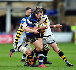 Max Clark of Bath Rugby takes on the Wasps defence - Mandatory byline: Patrick Khachfe/JMP - 07966 386802 - 04/03/2017 - RUGBY UNION - The Recreation Ground - Bath, England - Bath Rugby v Wasps - Aviva Premiership.