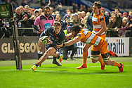 Darcy Graham (#14) of Edinburgh Rugby scores a try during the Guinness Pro 14 2018_19 match between Edinburgh Rugby and Toyota Cheetahs at BT Murrayfield Stadium, Edinburgh, Scotland on 5 October 2018.
