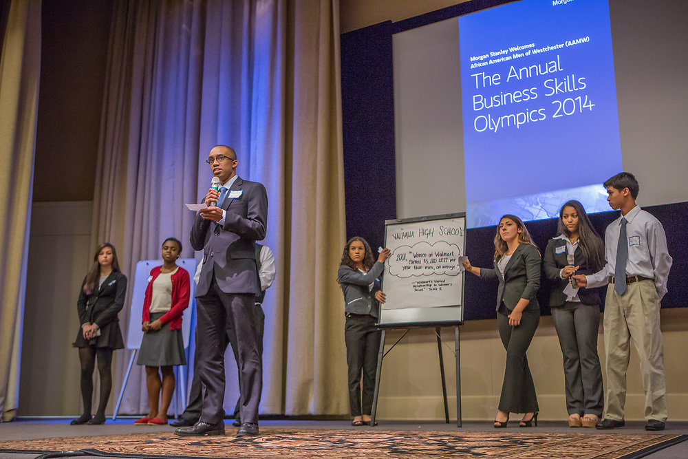 Purchase, NY – 31 October 2014. Valhalla High School students presnting their case. (Left to right: Jenna Goldberg, Jordyn  Gardner, Tyler Willis, Daniela Espinosa, Gabrielle Orr, Jessica Tesoro, Alec Uy.) The Business Skills Olympics was founded by the African American Men of Westchester, is sponsored and facilitated by Morgan Stanley, and is open to high school teams in Westchester County.