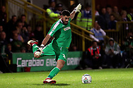 AFC Wimbledon goalkeeper Tom King (1) clearing the ball during the EFL Carabao Cup 2nd round match between AFC Wimbledon and West Ham United at the Cherry Red Records Stadium, Kingston, England on 28 August 2018.