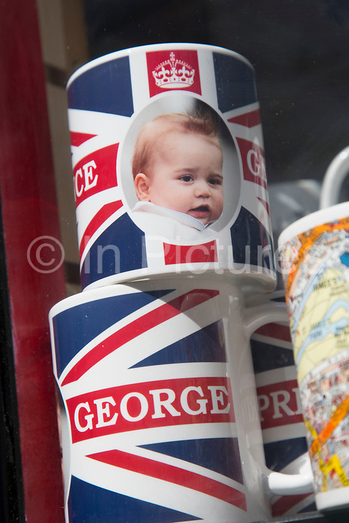 London, UK. Thursday 23rd April 2015. Souvenir mugs for the Royal Prince George. As the world awaits the second Royal baby, cheap souvenir production inevitably begins.