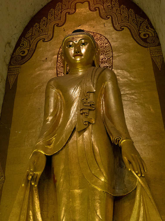 Konagamana – east facing, one of the Ananda Phaya Temple Buddhas. This Buddhist temple houses four standing Buddhas, each one facing the cardinal direction of East, North, West and South