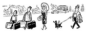 (A glamorous woman has all her belongings labelled whilst going on holiday, including her dog and partner)