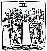 Zodiac sign of Gemini.  From 'Sphaera mundi', Strasburg, 1539