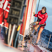 Leg 4, Melbourne to Hong Kong, day 16 on board MAPFRE, Sophir Ciszek at the bow. Photo by Ugo Fonolla/Volvo Ocean Race. 16 January, 2018.