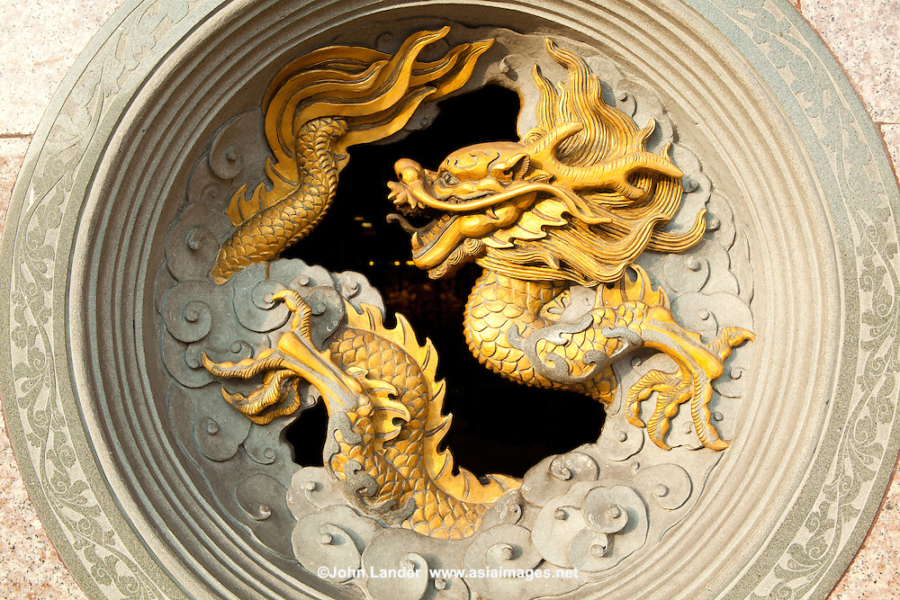 Chinese dragons are mythical creatures in mythology and folklore. In Chinese art they are portrayed as serpentine creatures with four legs. A dragon is yang and complements a Chinese phoenix. Chinese dragons traditionally symbolize  power, particularly control over water, rain, and floods. The dragon is also a symbol of good luck.
