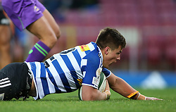 Huw Jones of Western Province dives over to score a try during the Currie Cup Premier Division match between the DHL Western Province and the Pumas held at the DHL Newlands rugby stadium in Cape Town, South Africa on the 17th September  2016<br /> <br /> Photo by: Shaun Roy / RealTime Images