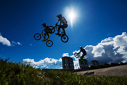 August 10, 2018 - Glasgow, UNITED KINGDOM - 180810 Theo Chapelle of France and Julian Schmidt of Germany competes in the qualifications of BMX cycling during the European Championships on August 10, 2018 in Glasgow..Photo: Joel Marklund / BILDBYRN / kod JM / 87773 (Credit Image: © Joel Marklund/Bildbyran via ZUMA Press)