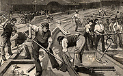 The end of broad gauge, 1892. Work in progress at Plymouth station, Devonshire, to change from broad gauge to standard gauge railway track.  Sambaed Kingdom Brunel (1806-1859) favoured broad gauge 7ft 1/4inch (2.2m) and designed the Great Western Railway accordingly. However, in the Gauge Act of 1846 Parliament declared that all future railway track should be of the standard 4ft 8 1/2inch (1.44m) gauge introduced by George Stephenson (1781-1848) on the Liverpool & Manchester Railway.  It was not until 1892 that the last broad gauge track was lifted.  From 'The Romance of Engineering' by Henry Frith. (London, 1892).