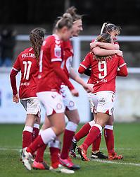 Ebony Salmon of Bristol City Women celebrates scoring her sides third goal of the game with Gemma Evans of Bristol City Women  - Mandatory by-line: Ryan Hiscott/JMP - 30/01/2021 - FOOTBALL - Twerton Park - Bath, England - Bristol City Women v Brighton and Hove Albion Women - FA Womens Super League 1