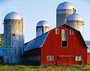 Milking Barn with silos, Lake Champlain area near Alburg, Vermont.