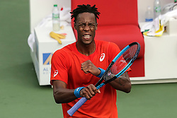 DUBAI, March 1, 2019  Gael Monfils of France celebrates after winning during the singles quarterfinal match between Gael Monfils of France and Ricardas Berankis of Lithuania at the ATP Dubai Duty Free Tennis Championships 2019 in Dubai, the United Arab Emirates, Feb. 28, 2019. Gael Monfils of France won 2-1 to proceed to the semifinals. (Credit Image: © Mahmoud Khaled/Xinhua via ZUMA Wire)