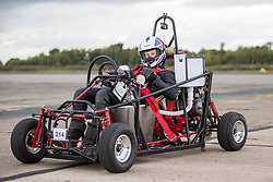 © Licensed to London News Pictures. 15/09/2018. York UK. 18 year old Thomas Ellis has set a new world record for a motorised toilet today at the Straight Liners speed event at Elvington Airfield near York, hitting a top speed of 73.26 mph. The vehicle is powered by a Yamaha XS250 bike engine & has a fully flushing toilet.  Photo credit: Andrew McCaren/LNP