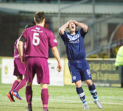 Forfar Athletic's David Cox after another miss. Forfar Athletic 0 v 1 Arbroath, Scottish Football League Division Two game played 10/12/2016 at Station Park.