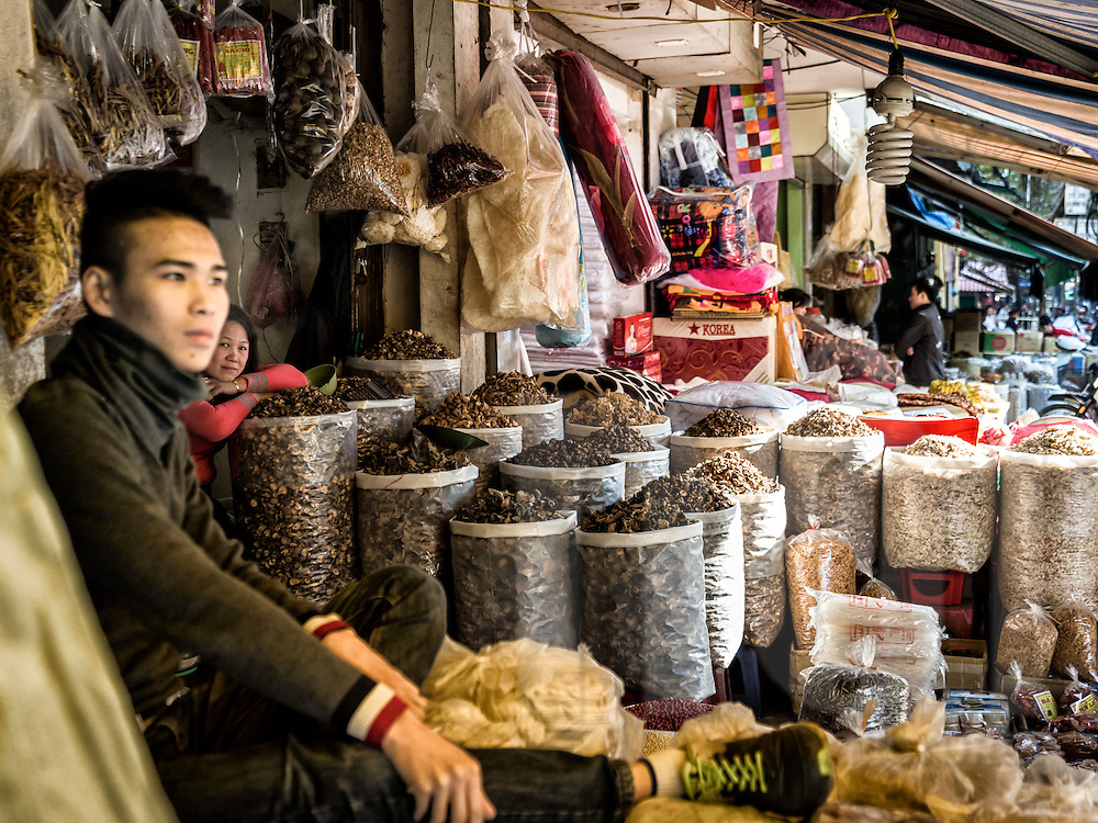 Sellers wait for customers in their shop filled with varieties of mushrooms, Cao Tang street, Old Quarter, Hanoi, Vietnam, Southeast Asia