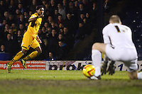 Newport County's Shaun Jeffers sees his shot saved by Southend United's Daniel Bentley<br /> <br /> Photo by Kevin Barnes/CameraSport<br /> <br /> Football - The Football League Sky Bet League Two - Southend United v Newport County - Friday 31st January 2014 - Roots Hall - Southend<br /> <br /> © CameraSport - 43 Linden Ave. Countesthorpe. Leicester. England. LE8 5PG - Tel: +44 (0) 116 277 4147 - admin@camerasport.com - www.camerasport.com