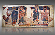 Romanesque frescoes of the Apostles from the church of Sant Roma de les Bons, painted around 1164, Encamp, Andorra. National Art Museum of Catalonia, Barcelona. MNAC 15783 .<br /> <br /> If you prefer you can also buy from our ALAMY PHOTO LIBRARY  Collection visit : https://www.alamy.com/portfolio/paul-williams-funkystock/romanesque-art-antiquities.html<br /> Type -     MNAC     - into the LOWER SEARCH WITHIN GALLERY box. Refine search by adding background colour, place, subject etc<br /> <br /> Visit our ROMANESQUE SCULPTURE PHOTO COLLECTION for more   photos  to download or buy as prints https://funkystock.photoshelter.com/gallery/Romanesque-Statue-Sculptures-Pictures-Images/G0000ezFHYeF_xRI/C0000YpKXiAHnG2k .<br /> <br /> If you prefer you can also buy from our ALAMY PHOTO LIBRARY  Collection visit : https://www.alamy.com/portfolio/paul-williams-funkystock/romanesque-art-antiquities.html<br /> Type -     MNAC     - into the LOWER SEARCH WITHIN GALLERY box. Refine search by adding background colour, place, subject etc<br /> <br /> Visit our ROMANESQUE ART PHOTO COLLECTION for more   photos  to download or buy as prints https://funkystock.photoshelter.com/gallery-collection/Medieval-Romanesque-Art-Antiquities-Historic-Sites-Pictures-Images-of/C0000uYGQT94tY_Y