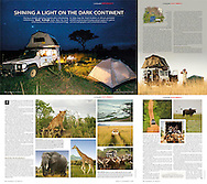 Tear sheet from Geographical magazine on a research trip I did with a fellow photo-journalist in Uganda.