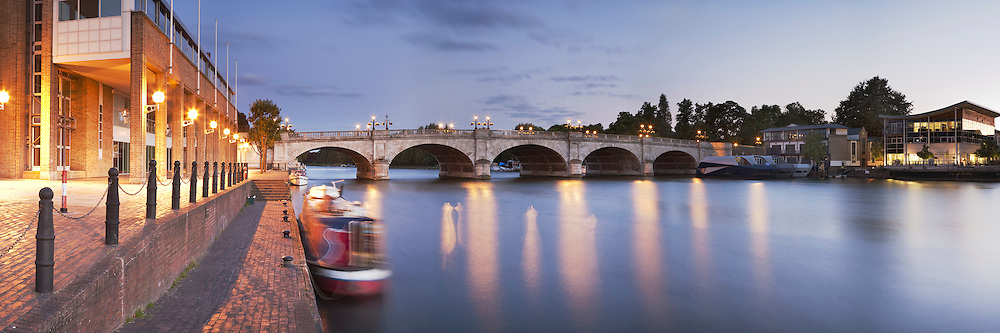 Kingston Bridge over the River Thames at sunset, Surrey, Uk
