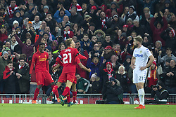 Halbfinale im Liga-Pokal Liverpool vs Leeds 1:0 in Liverpool / 291116<br /> <br /> ***LIVERPOOL, ENGLAND 29TH NOVEMBER 2016:<br /> Liverpool forward Divock Origi left celebrates after scoring during the English League Cup soccer match between Liverpool and Leeds at Anfield Stadium in Liverpool England November 29th 2016***