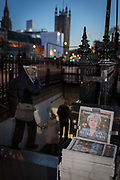As the vote of no confidence for Prime Minister Theresa Mays leadership in the Conservative Party occurs because of her handling of the Brexit deal with the EU, her face and a headline quote referring to Margaret Thatcher appears on the front page of the London Evening Standard at the entrance of Westminster tube station opposite Parliament in Westminster, on 12th December 2018, in London, England.