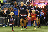 Captain Stuart McInally leads out mascots for the Guinness Pro 14 2018_19 match between Edinburgh Rugby and Toyota Cheetahs at BT Murrayfield Stadium, Edinburgh, Scotland on 5 October 2018.