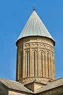 Pictures & images of the cupola of the medieval Alaverdi St George Cathedral & monastery complex, 11th century, near Telavi, Georgia (country). <br /> <br /> At 50 meters high Alaverdi St George Cathedral was once the highest cathedral in Georgia (now its the nes Tblisi cathedral). The cathedral is part of a Georgian Orthodox monastery founded by the monk Joseph [Abba] Alaverdeli, who came from Antioch and settled in Alaverdi. On the UNESCO World Heritage Site Tentative List. .<br /> <br /> Visit our MEDIEVAL PHOTO COLLECTIONS for more   photos  to download or buy as prints https://funkystock.photoshelter.com/gallery-collection/Medieval-Middle-Ages-Historic-Places-Arcaeological-Sites-Pictures-Images-of/C0000B5ZA54_WD0s .<br /> <br /> Visit our REPUBLIC of GEORGIA HISTORIC PLACES PHOTO COLLECTIONS for more photos to browse, download or buy as wall art prints https://funkystock.photoshelter.com/gallery-collection/Pictures-Images-of-Georgia-Country-Historic-Landmark-Places-Museum-Antiquities/C0000c1oD9eVkh9c