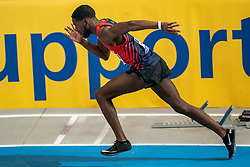 Keitharo Oosterwolde in action on the 200 meter during AA Drink Dutch Athletics Championship Indoor on 21 February 2021 in Apeldoorn.