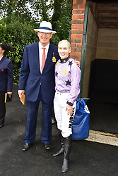 29 July 2021 - The QATAR Goodwood Festival Ladies Day at Goodwood Racecourse, West Sussex.<br /> Picture Shows - John Gosden and Thea Gosden Hood.<br /> <br /> NON EXCLUSIVE - WORLD RIGHTS