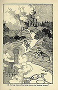 In Norway they left burning houses and weeping women From the book ' Viking tales ' by Jennie Hall, Punlished in Chicago by Rand, McNally & co in 1902