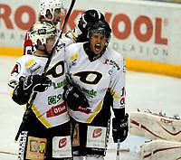 Ishockey GETLigaen 12.10.08  Lørenskoghallen Lørenskog - Stavanger Oilers<br /> <br /> Shawn Collymore og Brendan Brooks feirer<br /> <br /> Foto: Eirik Førde