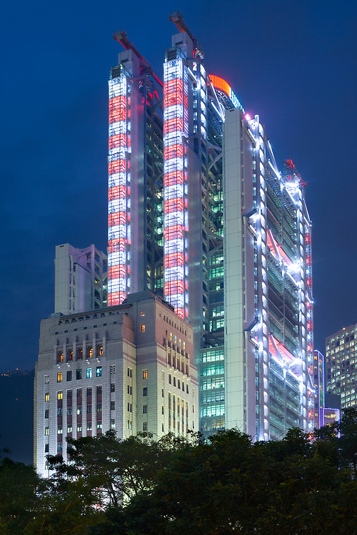 Hong Kong, Admiralty, China - December 03, 2008: HSBC building designed by architect Norman Foster at Statue Square, Chung Wan (central district).