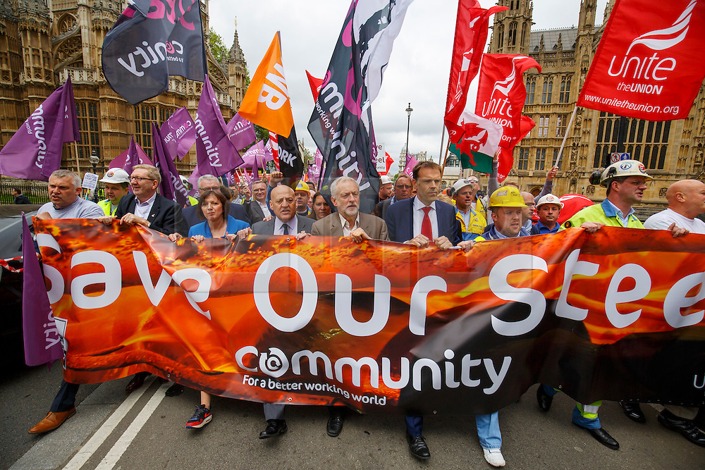 © Licensed to London News Pictures. 25/05/2016. London, UK. Leader of opposition and Labour leader JEREMY CORBYN joins hundreds of steelworkers from across the UK to march through Westminster in London to keep up pressure for government help for steel industry on Wednesday, 25 May 2016. Photo credit: Tolga Akmen/LNP