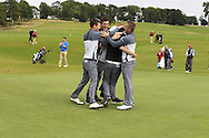Maynooth University Team members celebrate with Jake Whelan (MU) at the final of the AIG Senior Cup at the AIG Cups & Shields National Finals, Carton House, Maynooth, Co Kildare.<br /> Picture Golffile | Thos Caffrey