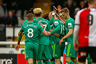 Goal!…Watford midfielder Will Hughes (19) scores a goal and celebrates during the The FA Cup 3rd round match between Woking and Watford at the Kingfield Stadium, Woking, United Kingdom on 6 January 2019.