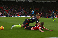 Football - 2018 / 2019 Premier League - Southampton vs. Manchester City<br /> <br /> Referee Mr Paul Tierney waves play on as Southampton's James Ward-Prowse looks for a penalty at St Mary's Stadium Southampton<br /> <br /> COLORSPORT/SHAUN BOGGUST
